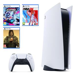 PlayStation 5 B Chassis + Destruction AllStars PS5 + Death Stranding Director's Cut PS5 + NBA 2K22 STANDARD EDITION PS5
