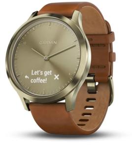 Garmin Vivomove HR Premium S/M, Zlatni sa svijetlosmeđom kožnom narukvicom, hibridni pametni sat RT