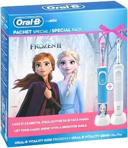 Oral-B D100 Vitality Kids Frozen+D100 Vitality Sensi UltraThin električna četkica za zube