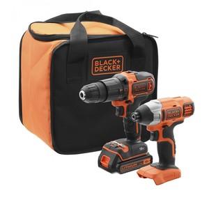 BLACK & DECKER set akumulatorska udarna bušilica + odvijač 18 V - BCK21S1S