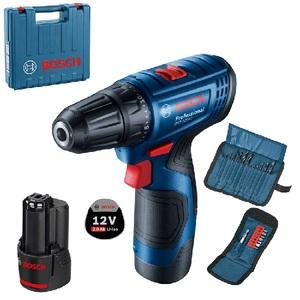 Bosch Professional GSR 120-LI akumulatorska bušilica/odvrtač + 23 delni set pribora (2x 2,0 Ah, GAL 1210 CV, kofer)